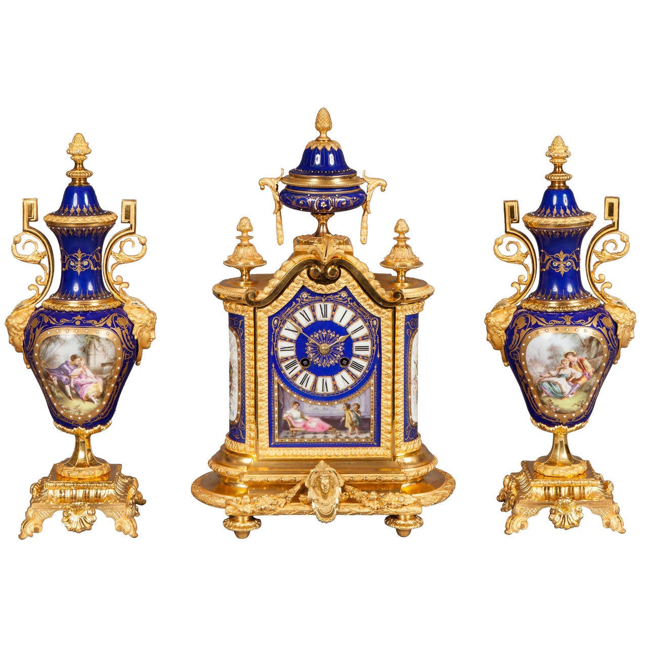 Gilt bronze blue 39 sevres 39 style clock and garniture de for Cheminee decorative