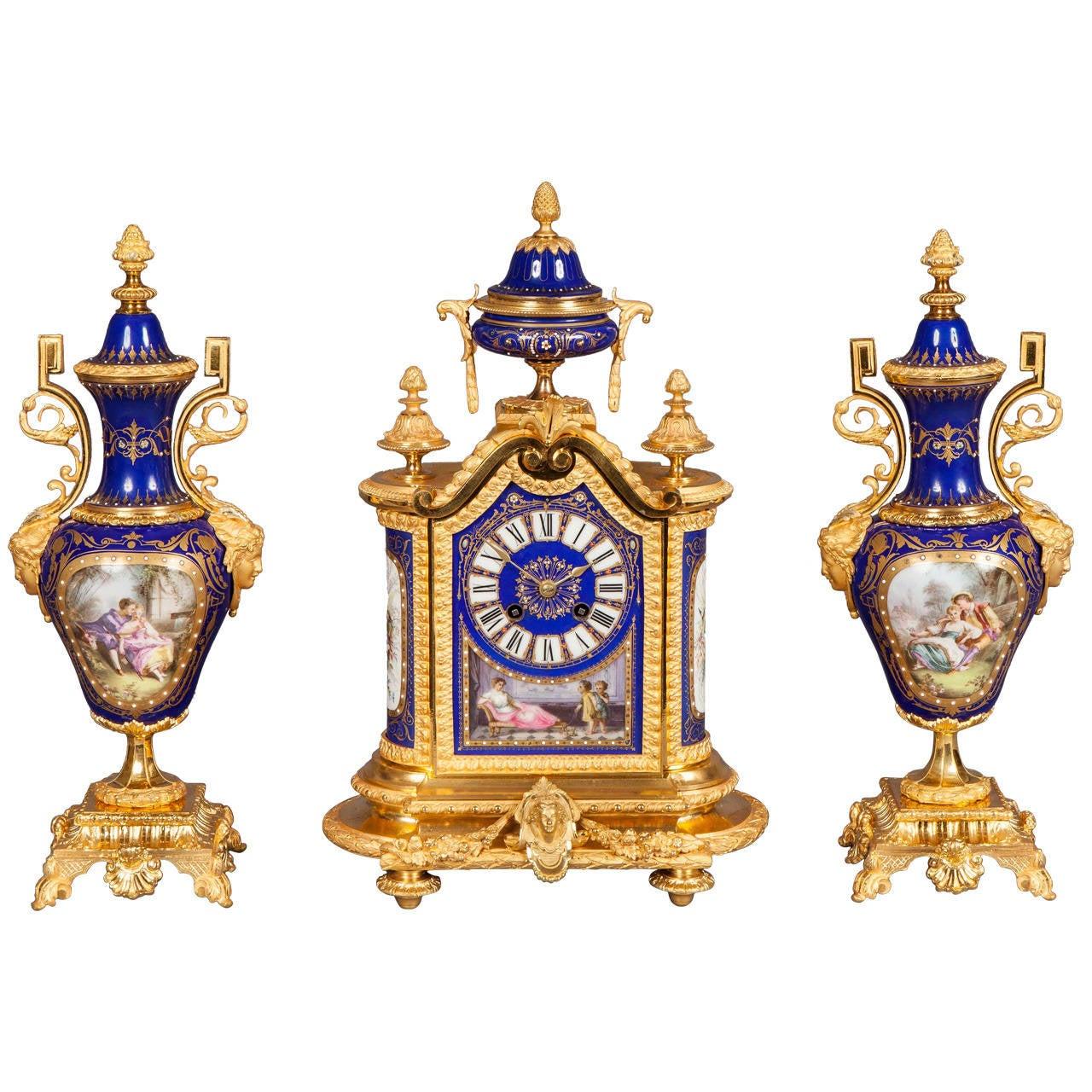 gilt bronze blue 39 sevres 39 style clock and garniture de chemin e for sale at 1stdibs. Black Bedroom Furniture Sets. Home Design Ideas
