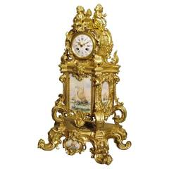 French 19th Century Gilt Bronze Mantle Clock with Nautical Scenes