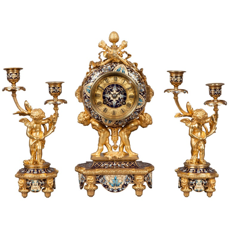 French Mantle Clock Garniture in the Louis XVI Manner For Sale