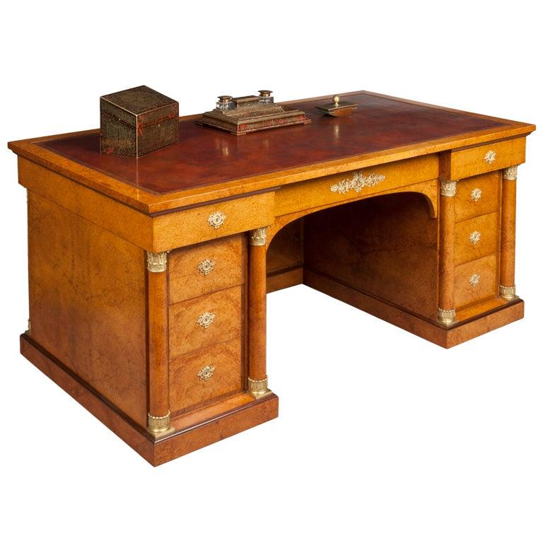 A Fine Antique Library Desk in the Empire Manner by Krieger of Paris 1 - A Fine Antique Library Desk In The Empire Manner By Krieger Of