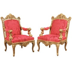 A Magnificent Pair of Antique Armchairs  By Alexandre-Georges Fourdinois