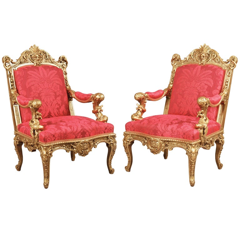 A Magnificent Pair of Antique Armchairs By Alexandre-Georges Fourdinois 1 - A Magnificent Pair Of Antique Armchairs By Alexandre-Georges