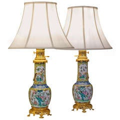 Pair of 19th Century Chinese Yellow and White Floral Chinioserie Lamps