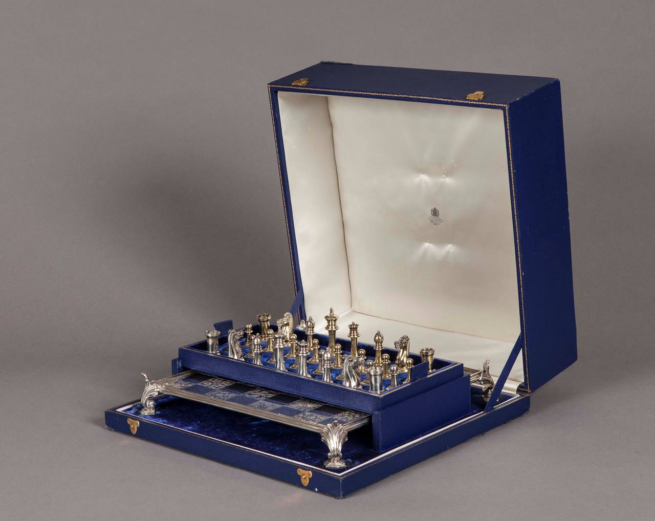 Boxed silver chess set and board retailed by asprey s of london at 1stdibs - Karim rashid chess set ...