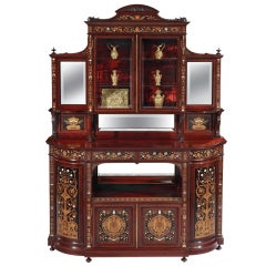 English 19th Century Renaissance Revival Inlaid Display Cabinet