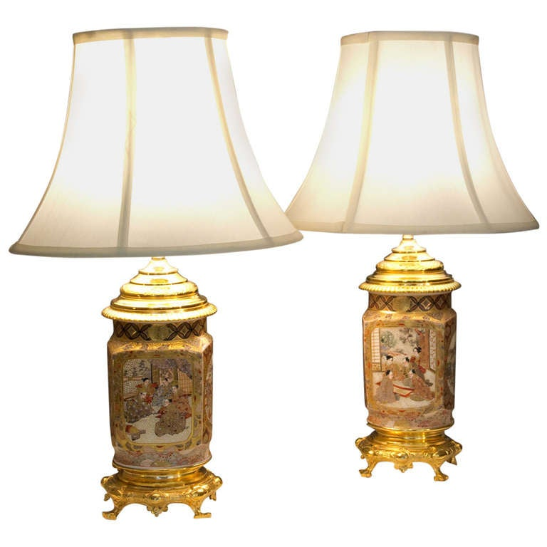 Pair of Antique Square Form Baluster Lamps
