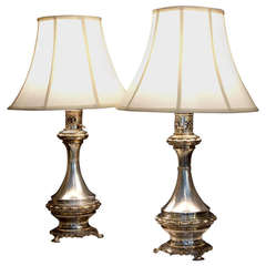 Pair of Antique Silver Plated Bronze Lamps