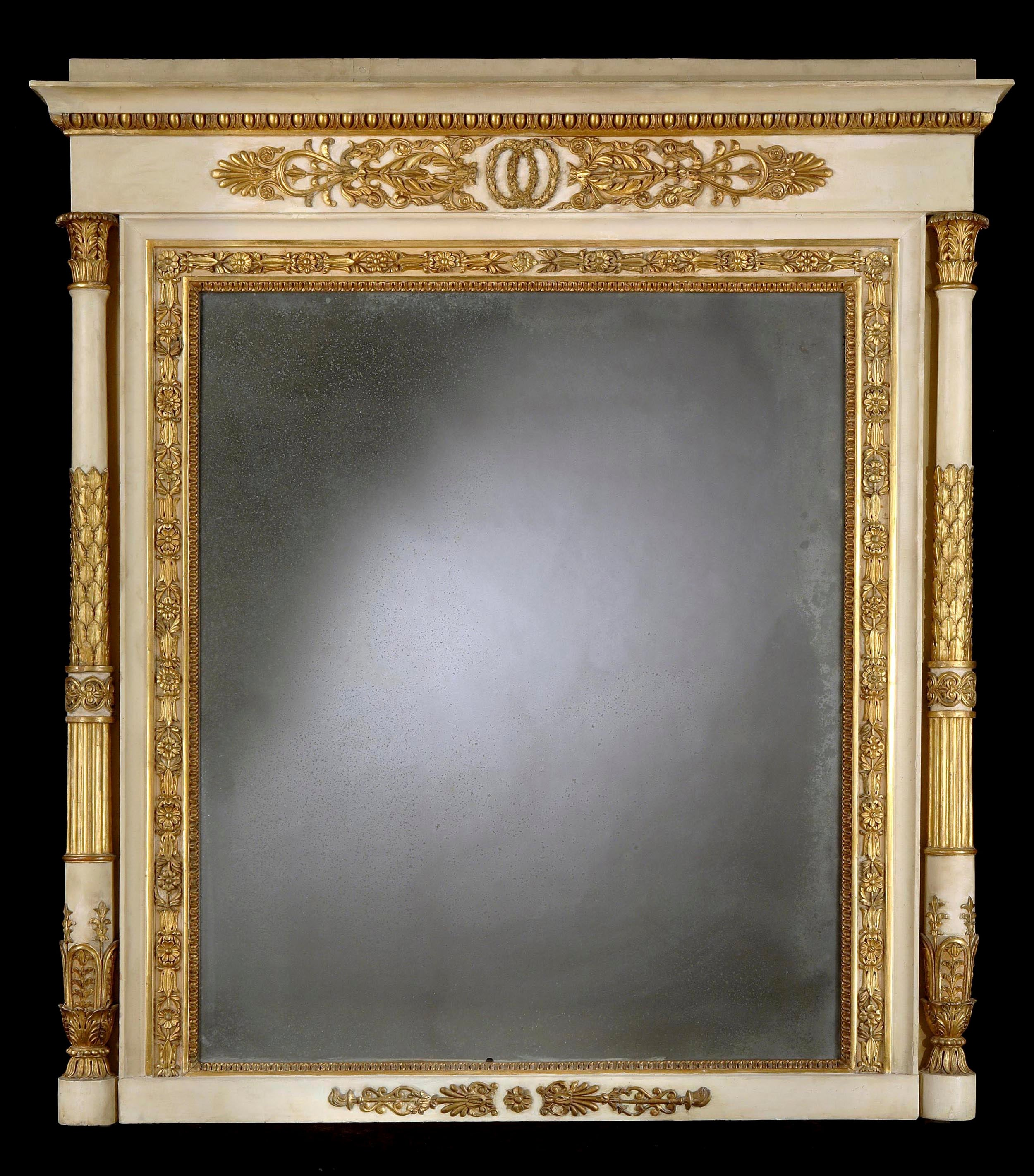 Neoclassical Italian White Painted and Giltwood Mirror