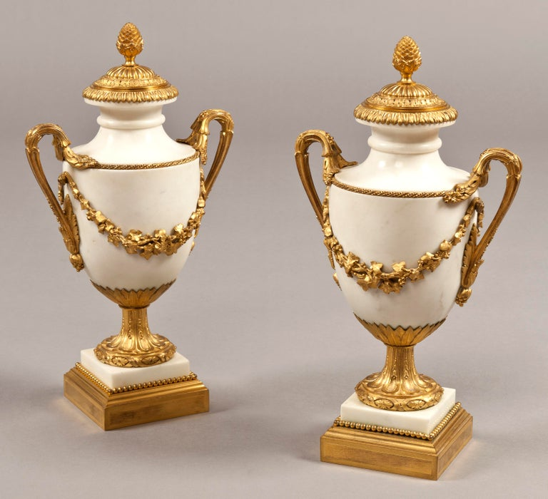 Pair of French 19th Century Carrara Marble and Gilt Bronze Urns For Sale