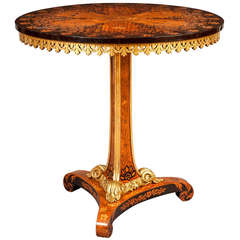 English 19th Century Satinwood and Ebonized Floral Marquetry Occassional Table