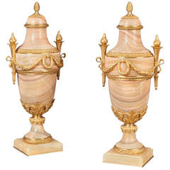 19th Century French Urns with Algerian Rose Onyx and Ormolu Mounts