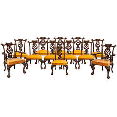 Set of Twelve Mahogany Dining Chairs in the Chippendale Style