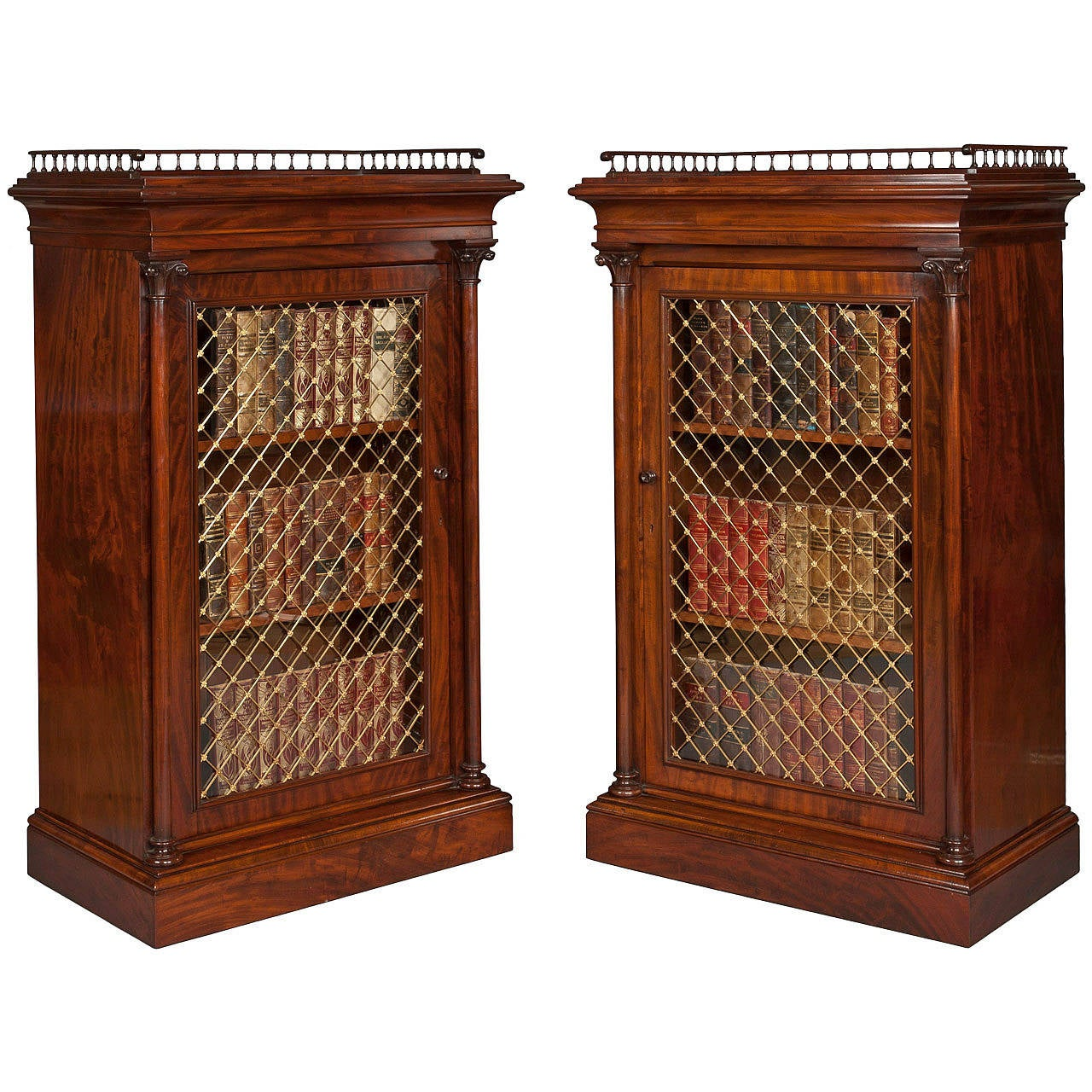 Pair of English Georgian Period Library Cabinets of Mahogany and Brass