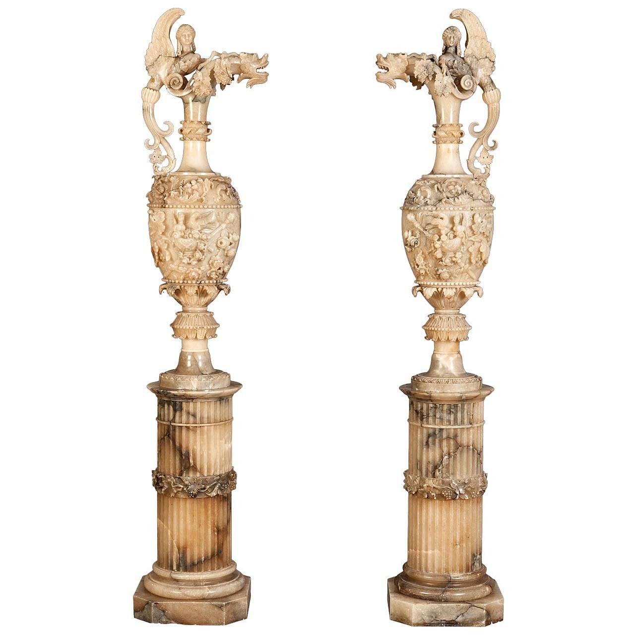 Pair of Monumental Alabaster Sculptures in the Neo-Renaissance Manner