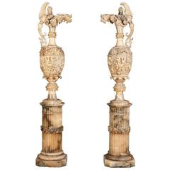 Pair of Monumental Alabaster Sculptures in the Neo-Renaissance Manner