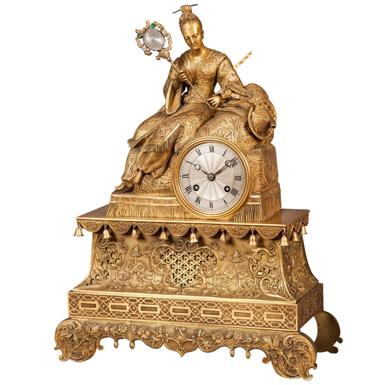 19th Century Gilt Bronze Mantle Clock in the Chinoiserie Taste For Sale