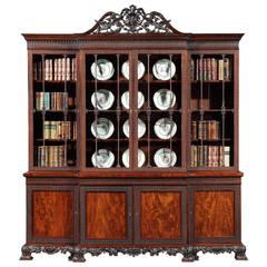 Antique Mahogany Four-Door Bookcase