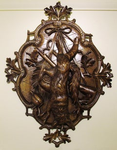 19th Century Carved Black Forest Hunting Plaque