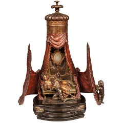 Very Fine and Rare Antique Viennese Bronze Musical Box Table Lamp