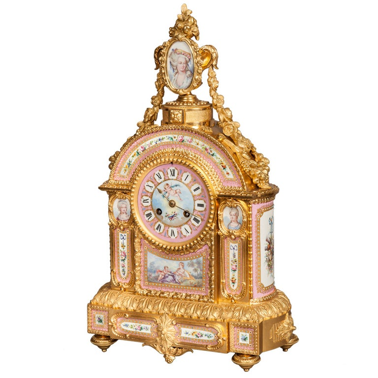 Mantelpiece Clock in the Louis XVI Manner, Retailed by E & S Watson of London For Sale