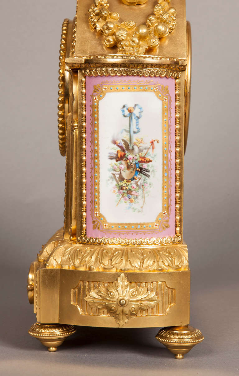 English Mantelpiece Clock in the Louis XVI Manner, Retailed by E & S Watson of London For Sale