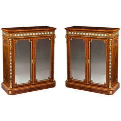 Pair of English Side Cabinets with Mirrored Doors and Inset Floral Porcelain