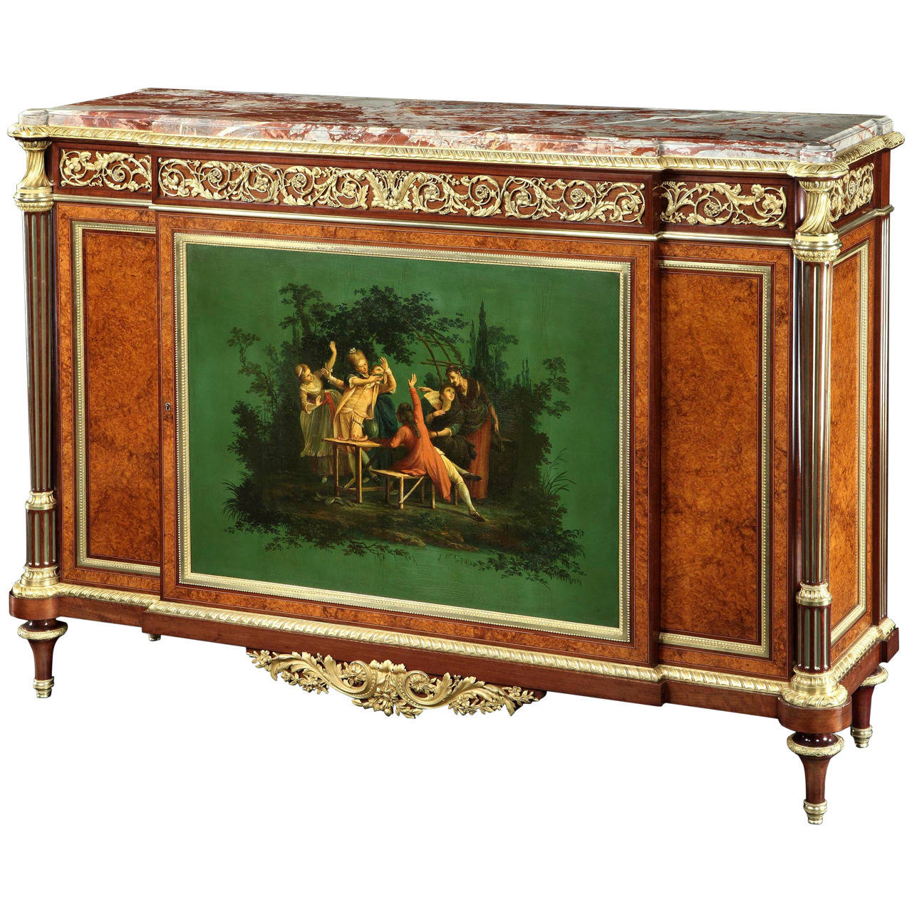 French Side Cabinet with Court Scene in Vernis Martin by Henry Dasson