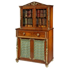 English Regency Period Goncalo Alves and Gilt Brass Secretaire Bookcase