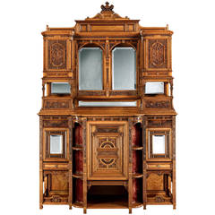 English 19th Century Carved Satinwood Cabinet