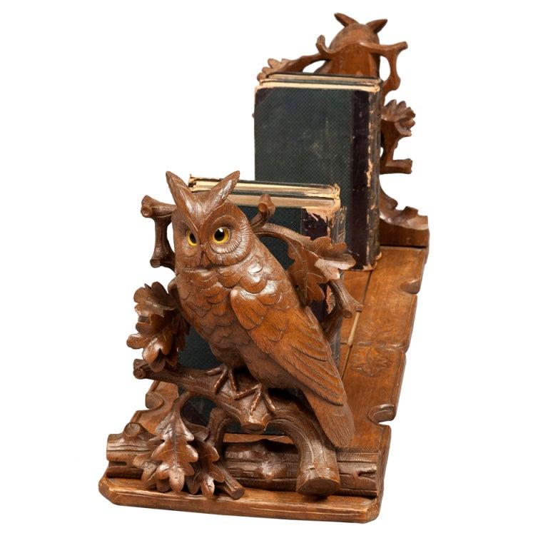 Black Forest Adjustable Book Rack with Carved Owls