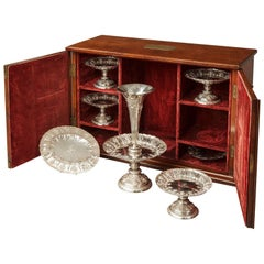 19th Century English Sheffield Hall Marked Silver Table Service with Case