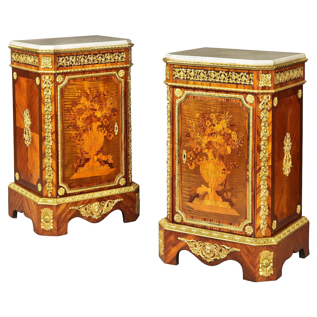 Pair of French 19th Century Floral Marquetry Side Cabinets with Marble Tops