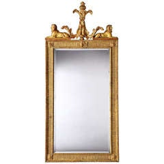 19th Century English Giltwood Mirror with Sphinxes in the Neoclassical Style