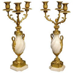 Pair of French White Carrara Marble and Gilt Candelabra, 19th Century