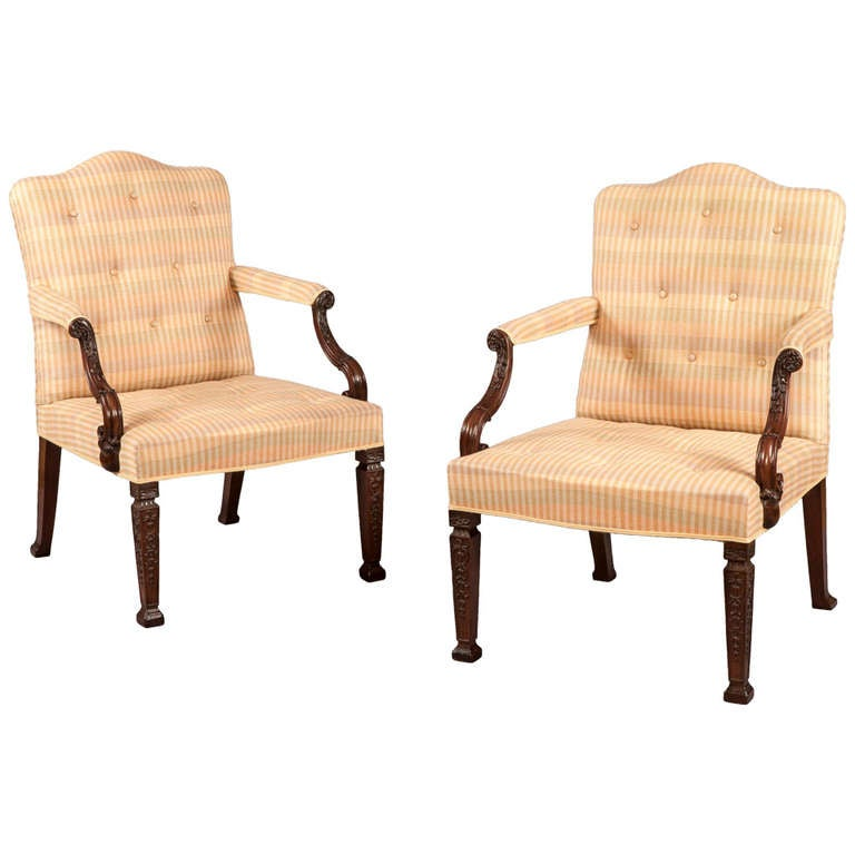 Pair Of Antique Library Armchairs Of The George III Period At 1stdibs