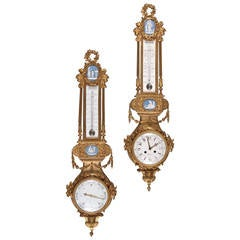 French Gilt Bronze and Blue and White Jasperware Clock and Barometer Set