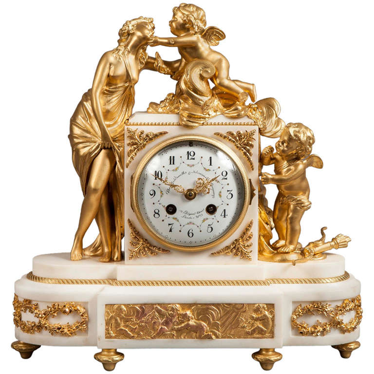 French Antique Ormolu Mantle Clock For Sale