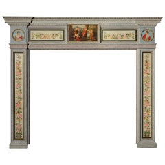 English Hand-Painted Fireplace Mantel in the Neoclassical Style
