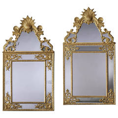 Near Pair of Antique Giltwood Mirrors