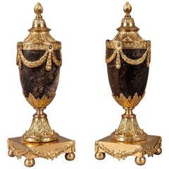 Pair of 18th Century English Gilt and Blue-John Stone Vases and Candleholders