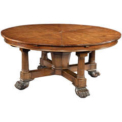 A Very Rare Antique 'Jupe's' Extensible Mechanical Action Circular Dining Table