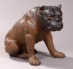 Antique Austrian Lifelike Figure of a Seated Brown British Bulldog