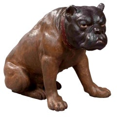 Antique Austrian Lifelike Figure of a Seated Brown British Bulldog