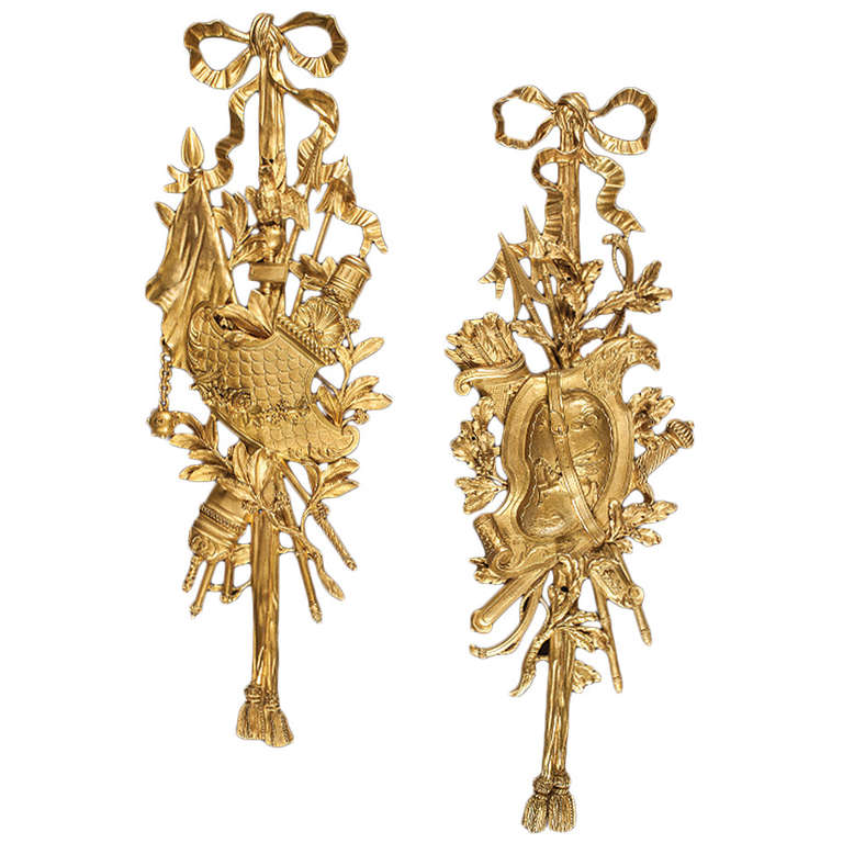 Pair of Ormolu Decorative Wall Mounts in the Louis XVI Style