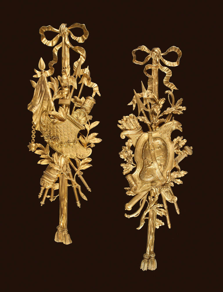 Pair Of Ormolu Decorative Wall Mounts In The Louis Xvi