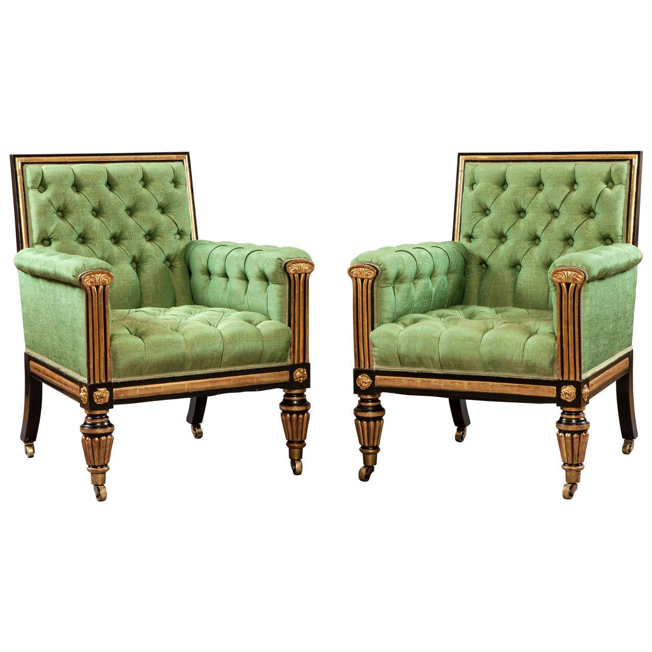 Pair Of Georgian Antique Library Armchairs At 1stdibs