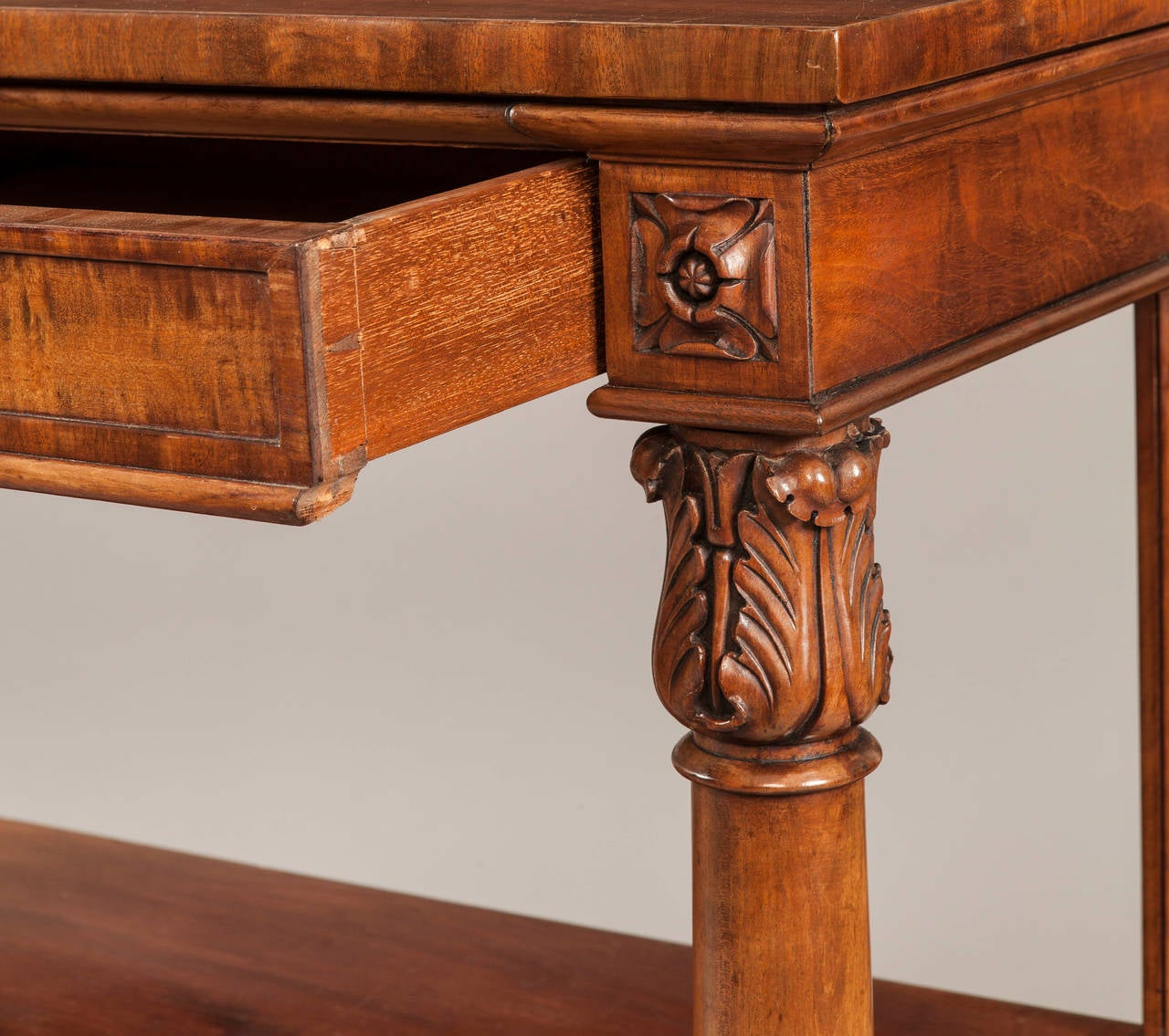 Regency English 19th Century Mahogany Console Table For Sale