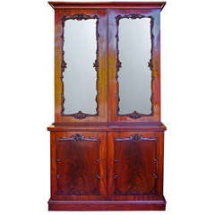 Georgian Mahogany Two Door Glass Cabinet Bookcase