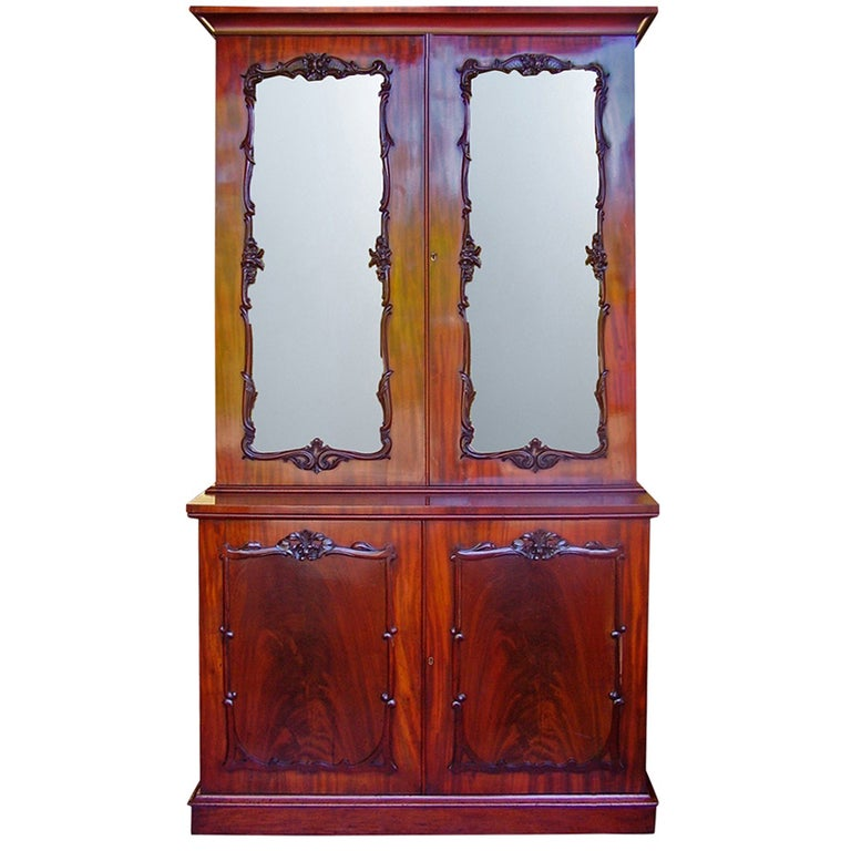 Georgian Mahogany Two Door Glass Cabinet Bookcase For Sale